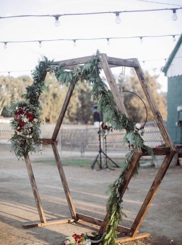 budget friendly geometric backyard wedding arch ideas