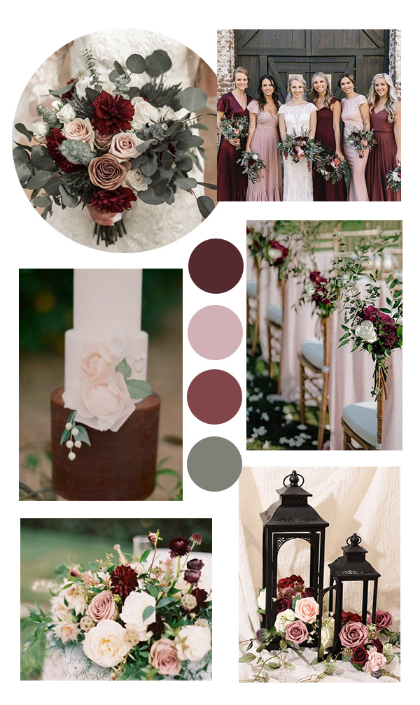 burgundy blush and sage wedding color ideas