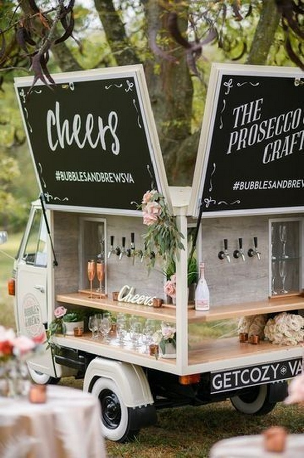 champagne mobile bar for wedding reception