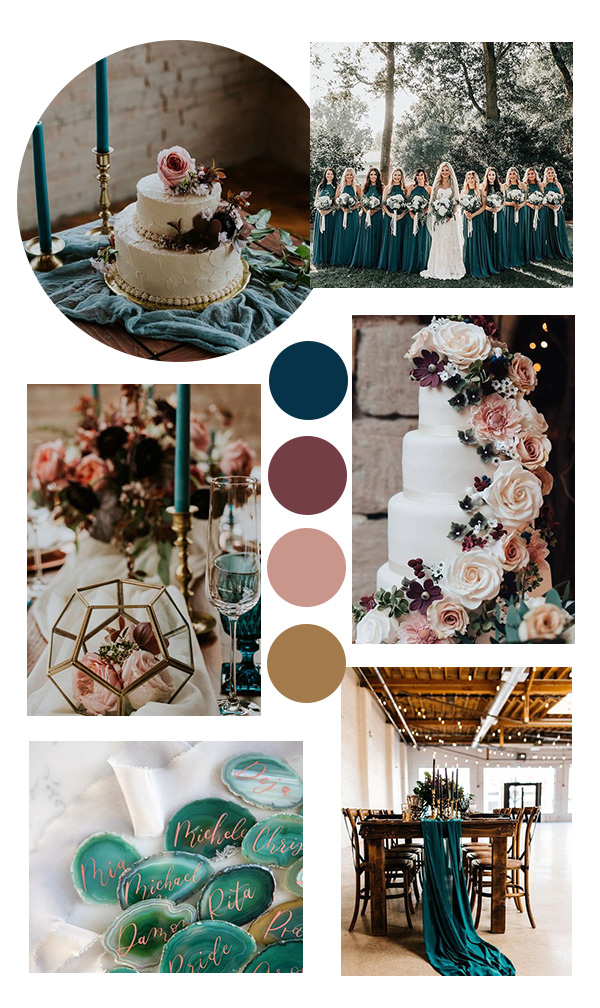 dark teal and dusty rose fall wedding color ideas