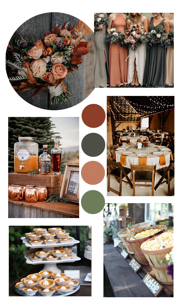 dusty orange and gray fall wedding color ideas
