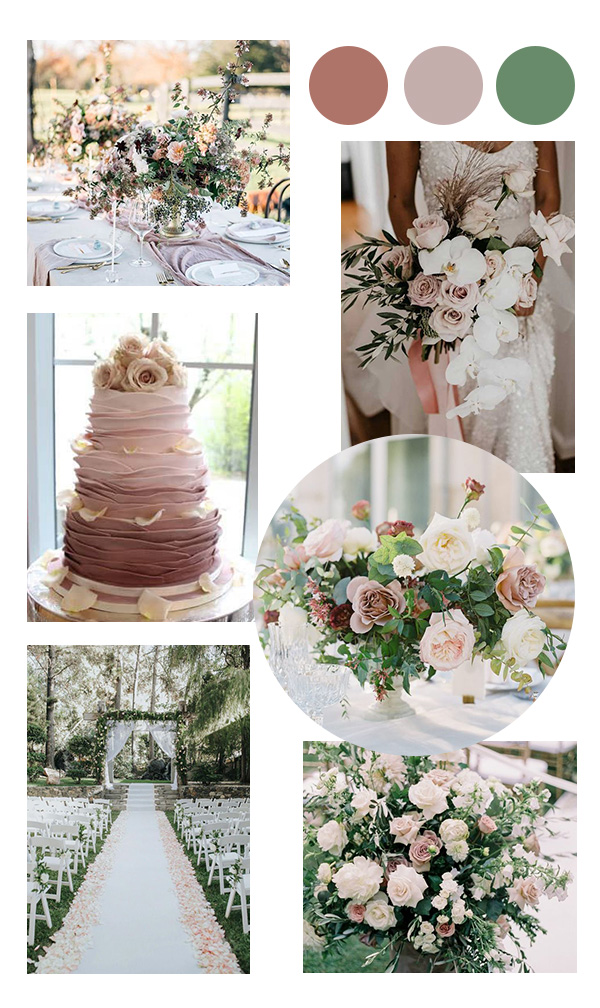 dusty rose mauve and sage green wedding color ideas