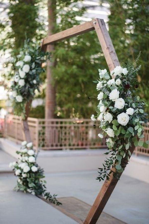 Modern Wedding Flowers -  geometric backyard wedding arch ideas