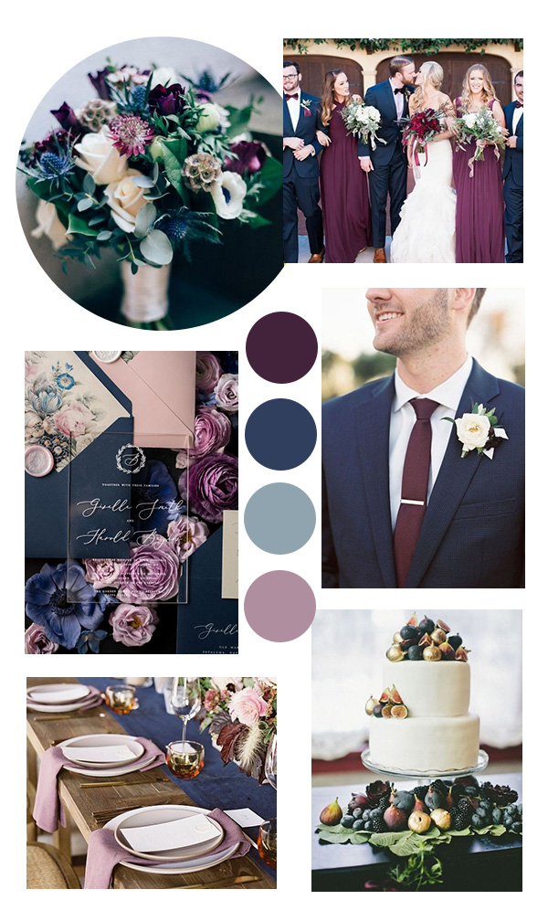 plum and navy fall wedding color ideas