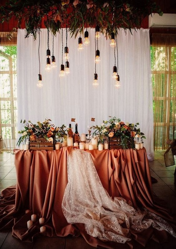 rust vintage sweetheart wedding table backdrops