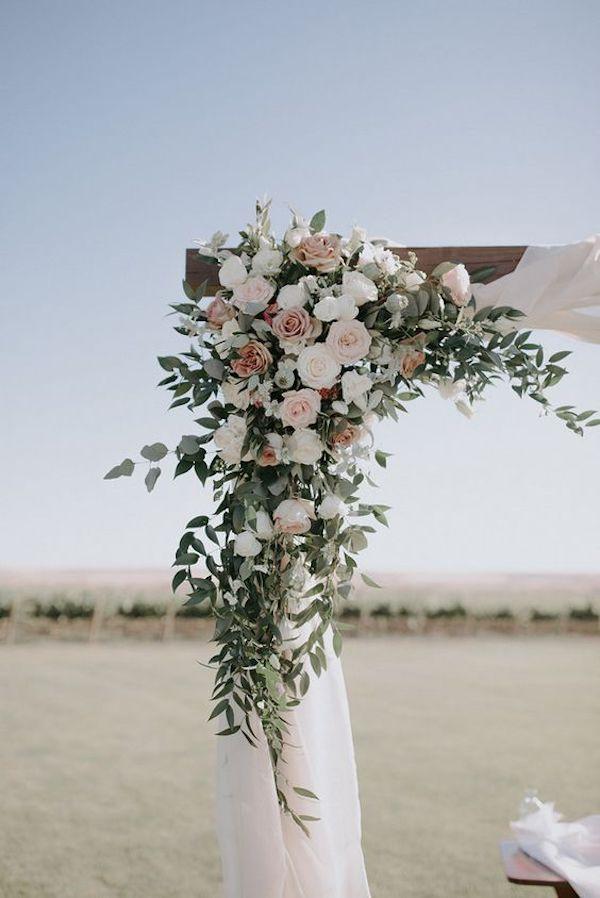 shades of pink wedding arch ideas