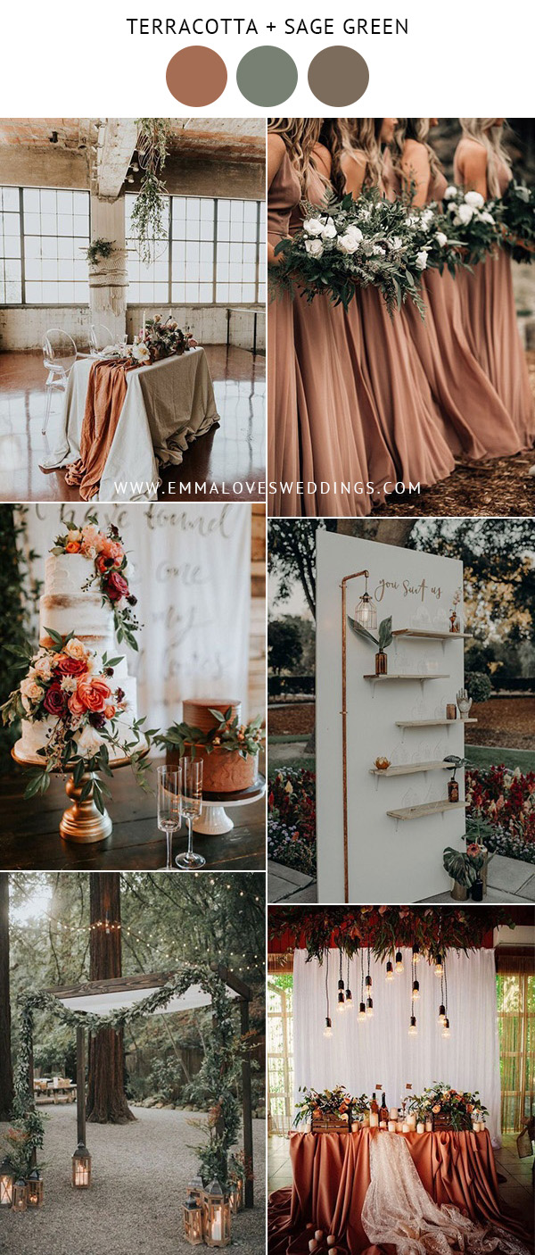 terracotta and sage green wedding color ideas