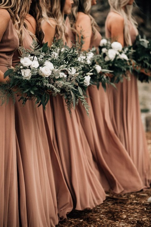terracotta bridesmaid dresses with sage green bouquets