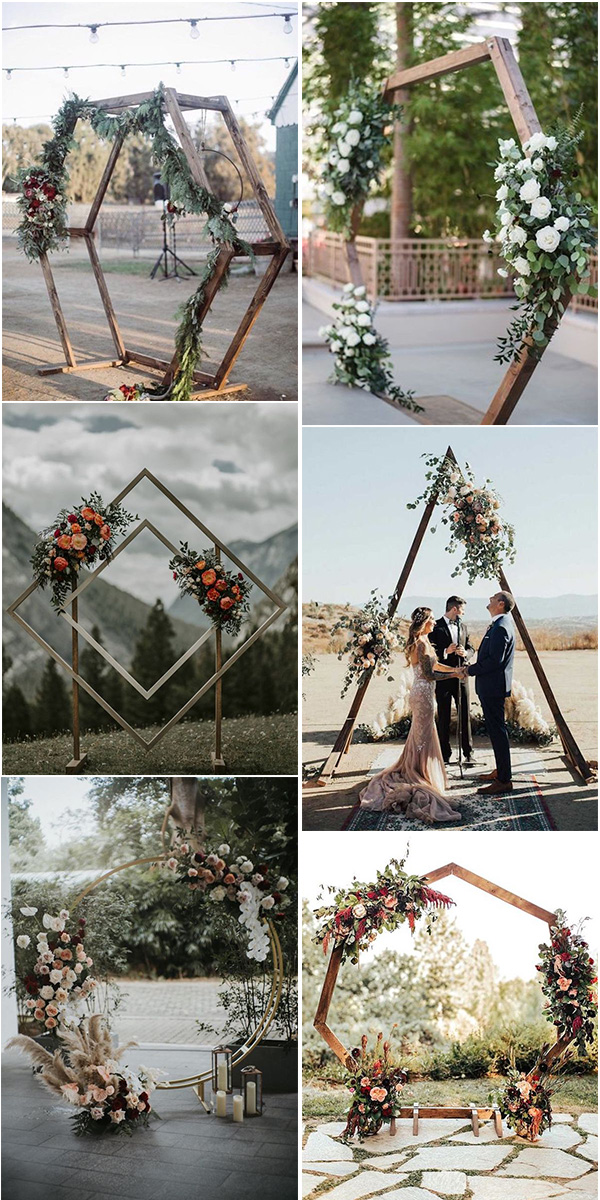 trending geometric backyard wedding arches