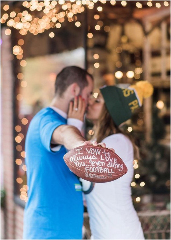 football couple engagement photo