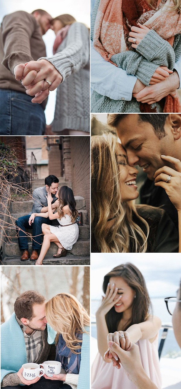 sweet engagement photo ideas with ring shoots
