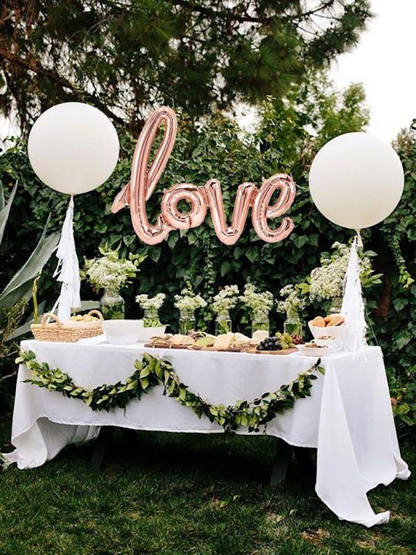backyard wedding dessert table ideas with balloons