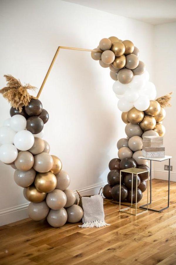 boho chic balloon wedding arch ideas