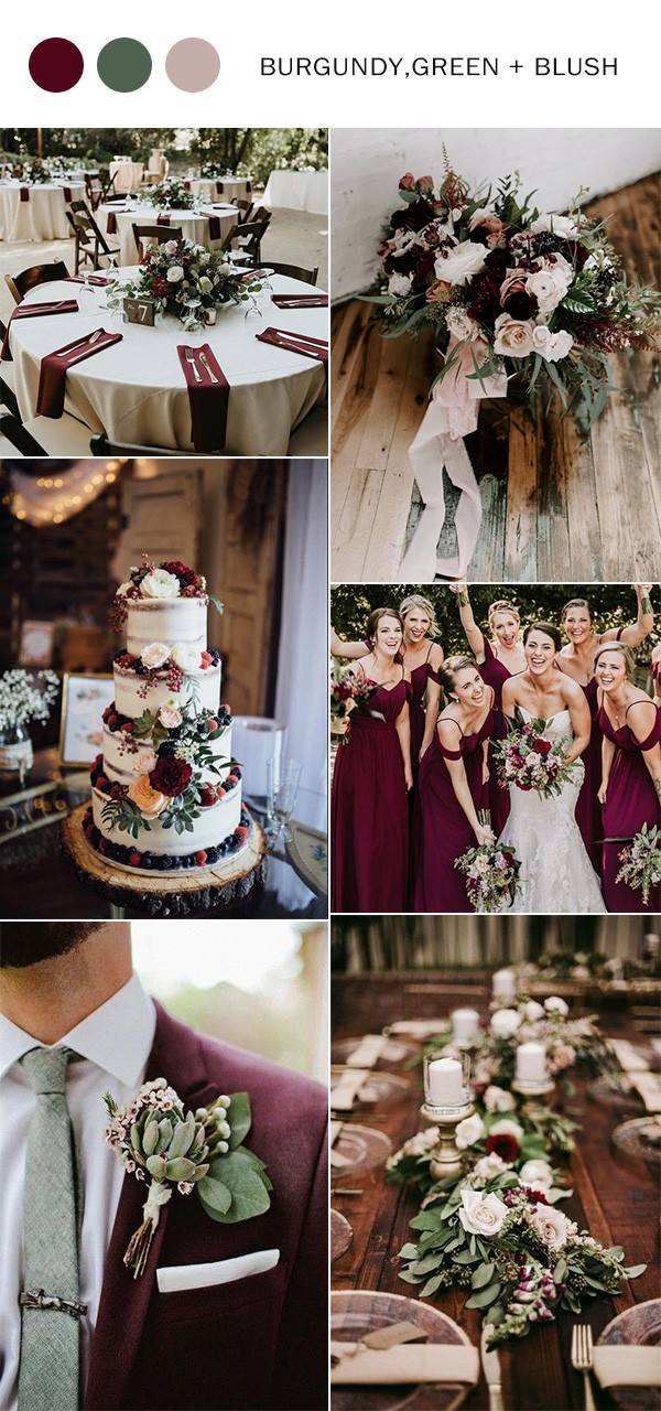 burgundy blush and greenery fall wedding color ideas