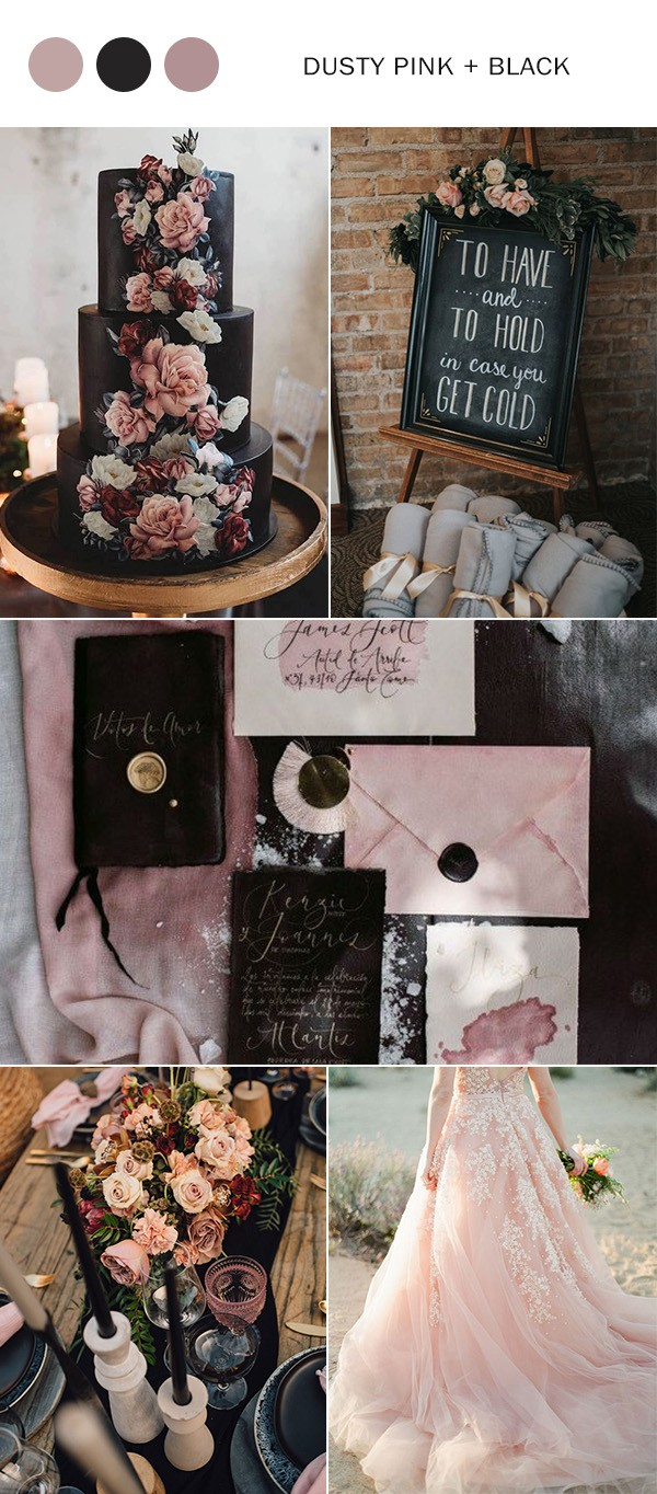 dusty rose and black wedding color ideas