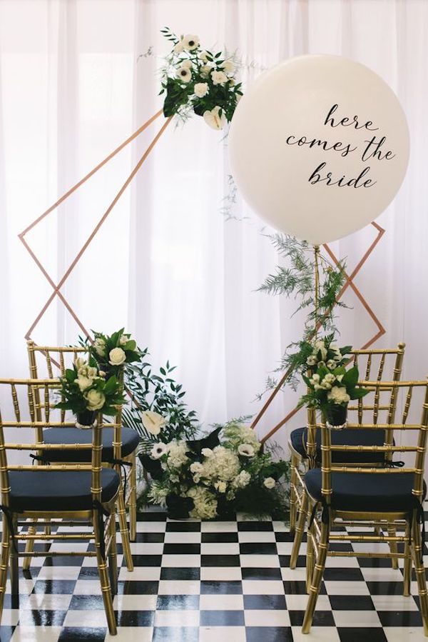 modern chic wedding ceremony decoration ideas with balloons
