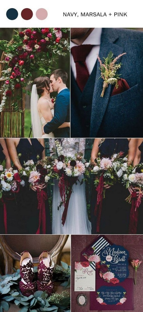 navy blue and burgundy fall wedding colors