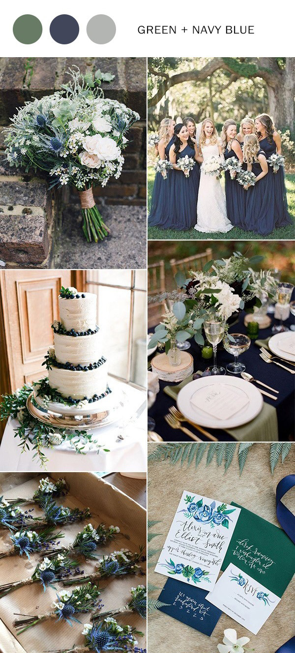 navy blue and greenery wedding color ideas for 2021