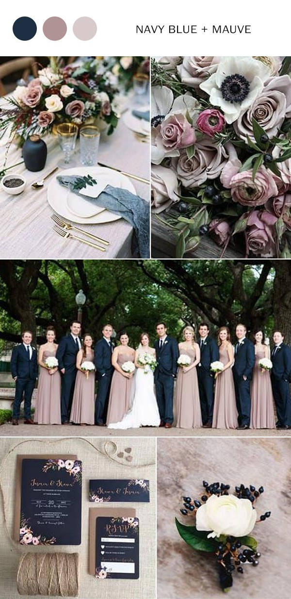 navy blue and mauve wedding colors for 2021