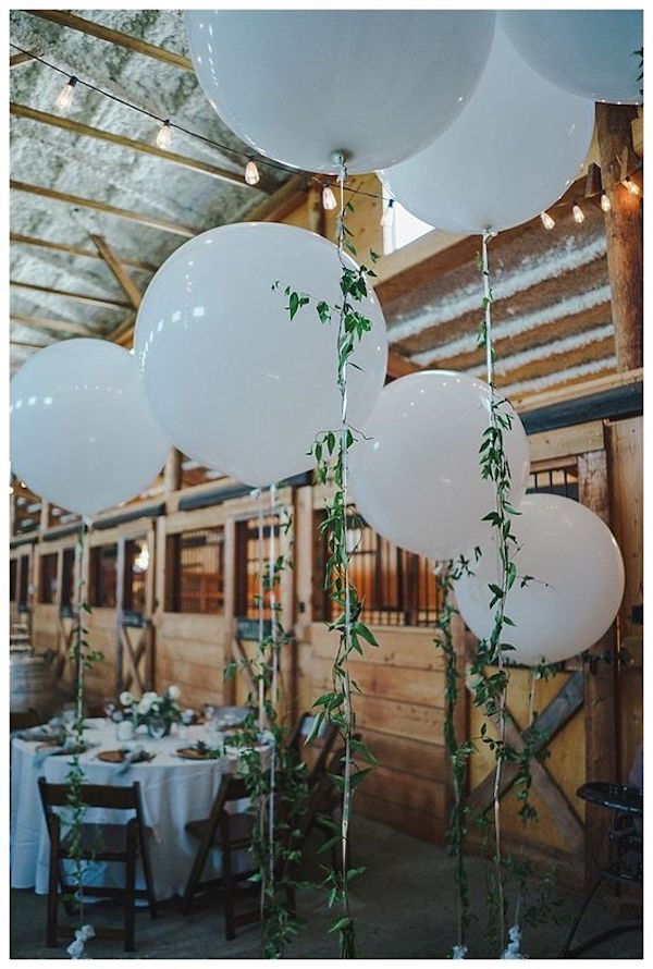 rustic ranch wedding reception decoration ideas with balloons
