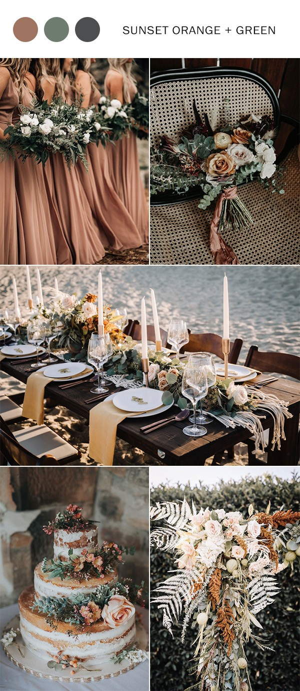 sunset orange and greenery fall wedding color ideas for 2021