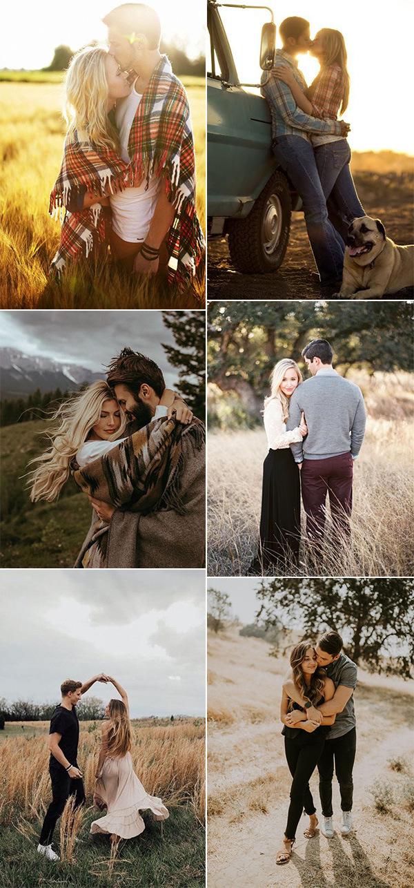 sweet fall wedding engagement photo poses