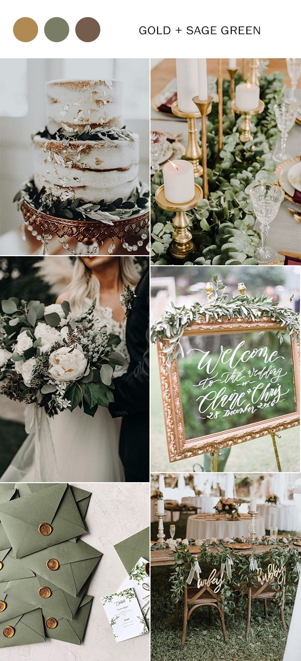 vintage gold and sage green fall wedding color ideas