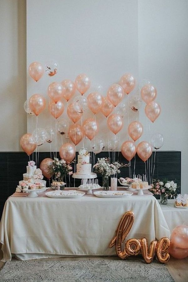 wedding dessert table display ideas with pink balloons