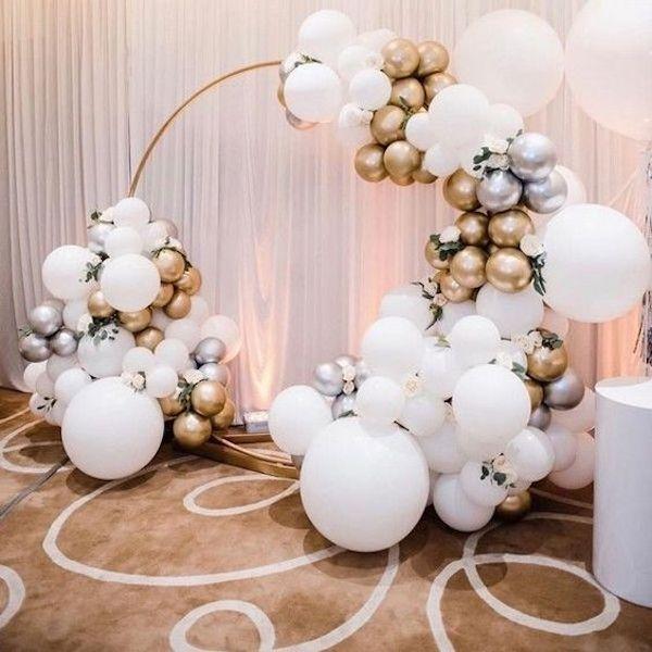 white and gold balloon wedding backdrop ideas