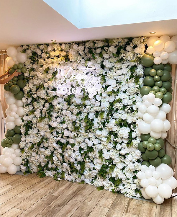 white and green wedding backdrop ideas with balloons